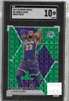 Lebron James 2019 Panini Mosaic green prizm 1st lakers SGC 10 - Lakers