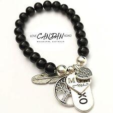I Love You Mum Bracelet Xoxo Tree Of Life Angel Feather Charm Onyx Gems Gift