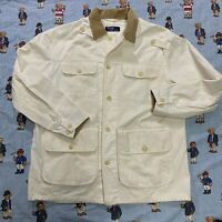 Vintage 90s Polo Ralph Lauren White Canvas Jacket LARGE Corduroy Collar 90s USA