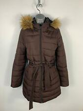 WOMENS HOLLISTER DARK BROWN CASUAL PADDED PUFFER JACKET HOODED COAT SIZE S SMALL