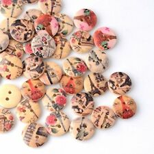 Lot of 10 FAMOUS BUILDINGS 2-hole Wood Button 5/8