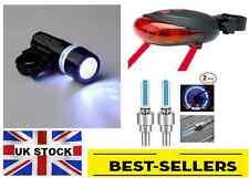 Front 5 led rear laser valve set-very bright light road bike cycle-UK Stock