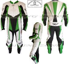 Hombre 1 pieza verde y blanco MOTO / MOTO Traje De Cuero / Cubierta