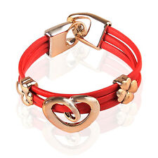 Lucky Red PU Leather & Gold Heart & 4 Leaves Clover Charms Bracelet Bangle BB94