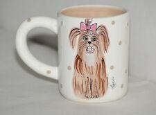 Blue Sky Lynda Corneille Dog Pink Bow Tea Cocoa Mug Coffee Cup Polka Dots 2008