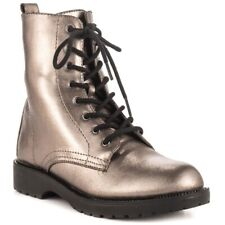 New G by Guess Silvia Metallic Silver Combat Boots women's size 8US