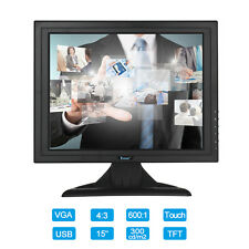 "POS Touch Screen 15"" inch Full HD Color CCTV Monitor Screen Display VGA USB In"