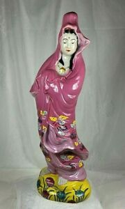 Vintage Japanese Buddha Yaki Moriage Kannon Statue Figure Hand Painted C-1920