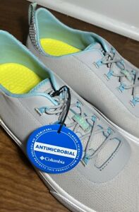 Columbia Womens Dorado Silver Grey, Coastal Blue Boat-n-Fishing Shoes Size 10