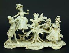 *c.1905 Antique German SCHEIBE-ALSBACH Bisque Porcelain Group Statue Centerpiece