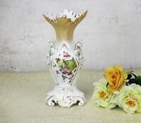 """Antique Vieux Paris Porcelain Fan Flair Bridal Vase Hand Painted Flowers 8.26"""""""