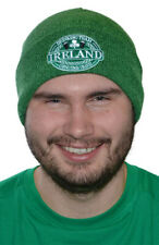 Green Knitted Beanie Turn Up Hat With Ireland Drinking Team Crest Design