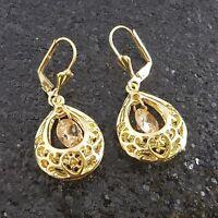 18K Gold Filled Stylish Italian Dangle Morganite 18ct GF Drop Earrings 40mm