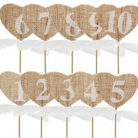 Hessian Table Numbers 1-20 Burlap Heart Wedding Party Vintage Rustic Shabby Chic