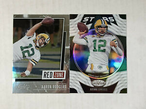 AARON RODGERS LOT OF 2 2020 Absolute Red Zone INSERT + Certified Stars HOLO FOIL