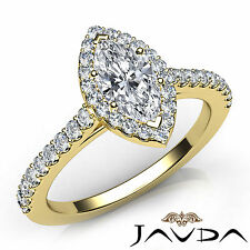 Marquise Cut Diamond Engagement Prong Set Ring GIA F SI1 18k Yellow Gold 1.22Ct