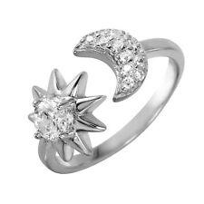 925 STERLING SILVER LADIES FINE SUN& MOON OPEN RING W/MAN MADE DIAMONDS/Z 5 ,7,9