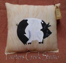 Prim BLACK & WHITE PIG Handpainted Pillow Folk Art HP,Primtiive,Tuck,Shelfsitter