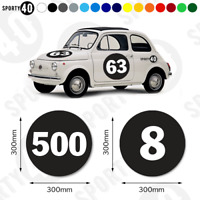 Round Number Vinyl Decals / Stickers - 1 x 300mm - Race WhiteonBlack  6103-0119B