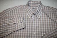 Peter Millar Men's Sz Large 100% Cotton Light Tan Long Sleeve Button Shirt EUC
