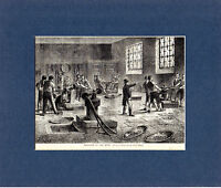 ANTIQUE WOODCUT - INSIDE THE OLD LONDON MINT - CASSELL'S OLD & NEW LONDON (1880)