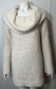 LC Lauren Conrad Womens XXL Sweater Large Cowlneck Tunic Beige Fuzzy Knit Soft