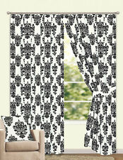 """Fully Lined 66"""" x 54"""" Flock Pair Of Curtains Including Tie Backs Black & White"""