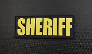 "8"" X 3"" Woven SHERIFF Placard Uniform Patch Law Enforcement LEO Hook Loop Backed"