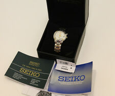 Seiko SKA884 Ladies Watch Two Tone Stainless Steel Kintetic Mother Of Pearl Dial