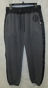 Pittsburgh Steelers Women M Gray Cuff Bottom Faux Leather Stripe Pants NFL A14