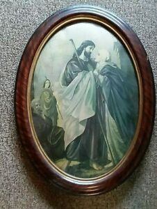 Antique Religious Bubble Glass Framed Picture Mary & Jesus