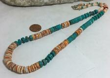 Gorgeous spiny oyster shell Heishi /block turquoise necklace/(z173c-w1.5)