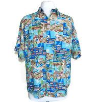 Vintage 80's 90's GUESS Georges Marciano shirt XL Paris Postcard Travel USA sz L