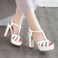 Women Gladiator Sandals Platform Open Toe Block High Heels Party Wedding Shoes