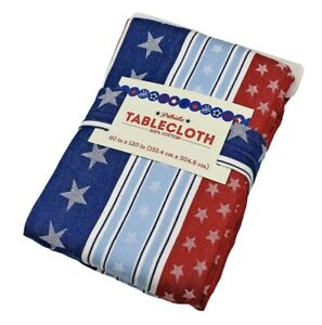 Americana Patriotic Stars & Stripes Cotton FABRIC Tablecloth ASST SIZES July 4th