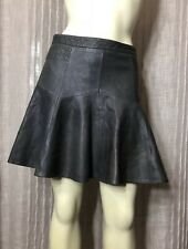 Anthropologie Odd Molly Gray Fit-Flare Genuine leather skirt sz S