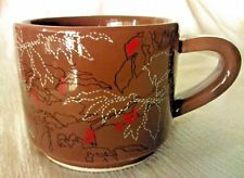 Starbucks Brown Coffee Bean Cherry Blossom 10oz Stackable Mug Cup 2009