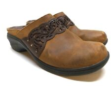 Ariat Clogs Brown Tan Leather Mules Slip On Womens Size 8.5 B Style 21435