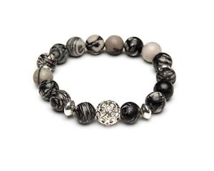 Stretch Bracelet Gemstone Snowflake Obsidian Spiderweb Jasper Sterling Silver UK