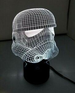Engraved Acrylic 3D Star Wars Stormtrooper Multicolor Novelty Lamp Light EUC