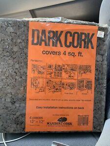 "VTG Dark Cork Wall Paneling *4 Panels* 12""x12"" Acoustic Bulletin Message 4 Sq Ft"