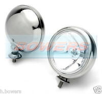 2x 5 INCH CLASSIC CAR BMW MINI CHROME SPOTLAMPS SPOTLIGHTS WIPAC S6055 MAXTEL