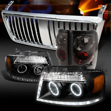 04-08 F150 Black Halo Projector Headlights+Smoke Tail Lamps+Chrome Grille