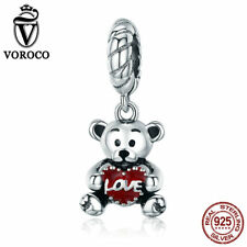VOROCO New Cute Bear Hug Love Heart Dangel Charm 925 Sterling Silver With Enamel