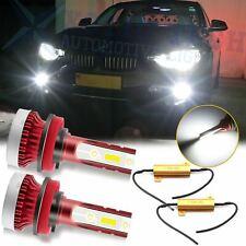 For BMW 3 Series 5 Series 6000K White 100W COB LED Fog Light Bulbs w/ Resistor