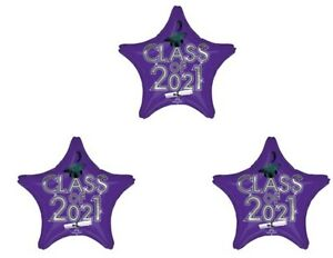 Set of 3 Purple Star Graduation Class of 2021 Party balloons decoration supplies