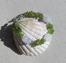 "Peridot & Crackled Clear Quartz Crystal Gemstone Bracelet ""Lime Dew"""