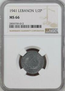 LEBANON , ZINC 1/2 PIASTRE 1941 - NGC MS 66 - TOP POP  , RAREN
