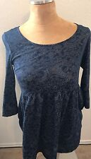 Forever 21 Womens Sz S Small Tunic Dress Navy Blue Floral Sheer Burnout 3/4 Slv