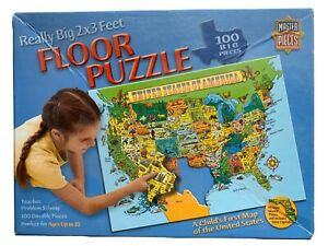 Master Pieces Floor Puzzle United States Map 2 X 3 Feet Huge 100 Pieces Durable